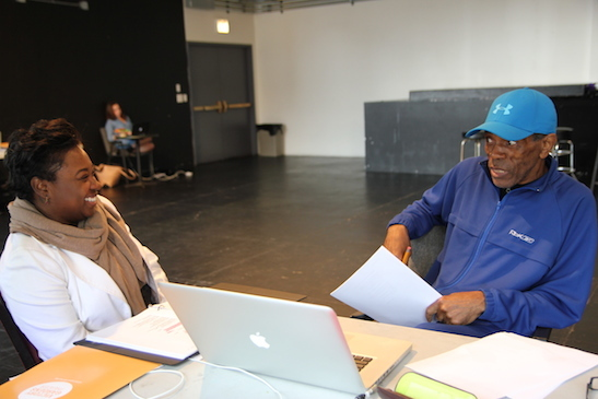 Donica Lynn and Andre De Shields in rehearsal for CONFESSIONS OF A P.I.M.P. at Victory Gardens Theater in Chicago on July 14, 2015. Photo by Lia Chang