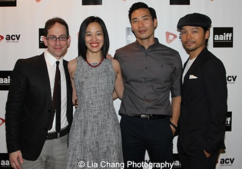Garth Kravits, Lia Chang, FINDING YOU's Grant Chang (Top Ten Film; Best Actor and Best Director) and co-star Jake Manabat at the 11th Annual 72 Hour Shootout World Premiere Film Screening at Village Cinema East in New York on July 25, 2015.