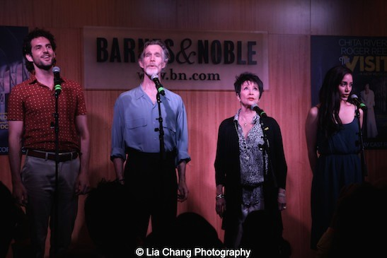 Actors John Riddle, Tom Nelis, Chita Rivera and Michelle Veintimilla perform at'The Visit' Broadway cast performance and CD signing at Barnes & Noble, 86th & Lexington on July 9, 2015 in New York City. Photo by Lia Chang