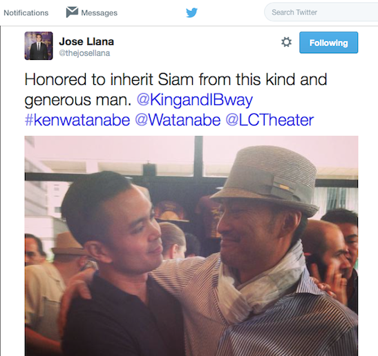 Two Kings- Jose Llana and Ken Watanabe at Lincoln Center in New York on July 12, 2015. Photo: Twitter