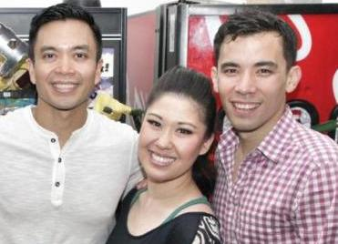 Jose Llana, Ruthie Ann Miles and Conrad Ricamora backstage at Here Lies Love at The Pubic Theater in New York (June, 2013). Photo by Lia Chang