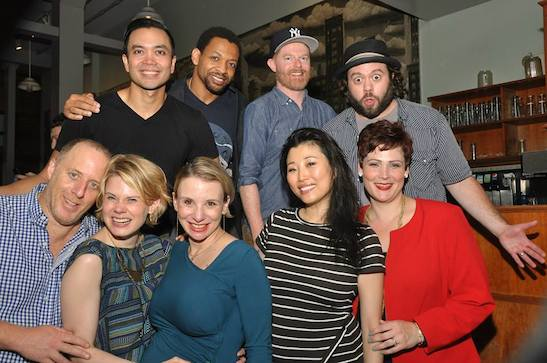 Original Spelling Bee cast members (1st row) Jay Reiss, Celia Keenan-Bolger, Sarah Saltzberg, Deborah S. Craig, Lisa Howard (2nd row) Jose Llana, Derrick Baskin, Jesse Tyler Ferguson and Dan Fogler at the afterparty at John Pizzeria in New York on July 6, 2015. Photo by Anita & Steve Shevett