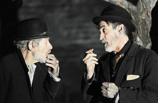 Sir Ian McKellen and Roger Rees in Waiting For Godot at the Haymarket in 2010. Credit: Sasha Gusov