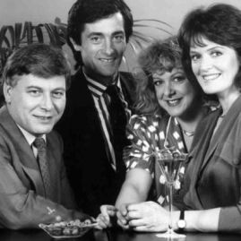 Roger Rees, second left, with Eamon Boland, Susie Blake and Judy Loe in the British sitcom Singles.