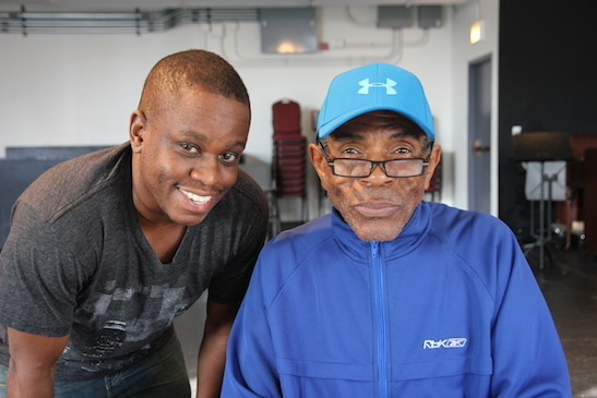 Director Samuel G. Roberson and André De Shields in rehearsal for CONFESSIONS OF A P.I.M.P. at Victory Gardens Theater in Chicago on July 14, 2015. Photo by Lia Chang