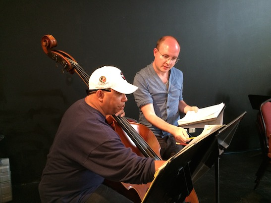Tony Mhoon and Musical Director Doug Peck in rehearsal for CONFESSIONS OF A P.I.M.P. at Victory Gardens Theater in Chicago on July 15, 2015. Photo by Lia Chang