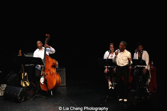 """Bassist Tony Mhoon, Kimberly Lawson, André De Shields and Donica Lynn sing """"Smile"""" (Duet for Voice and Bass) in CONFESSIONS OF A P.I.M.P. in Victory Gardens' 2015 IGNITION Festival of New Plays in Chicago on July 16, 2015. Photo by Lia Chang"""