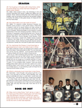Living Colour Drummer Will Calhoun profiled in Drumhead Magazine.