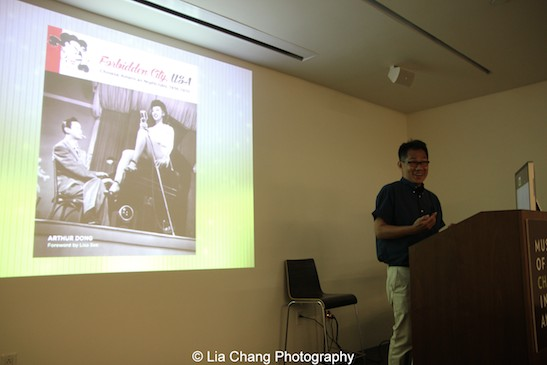Arthur Dong introduces his Forbidden City, USA: Chinese American Nightclubs, 1936-1970 lecture at MoCA in New York on July 26, 2015. Photo by Lia Chang
