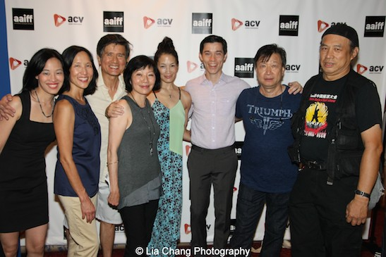 Lia Chang, Bea Soong, Phil Nee, Elizabeth Sung, Eugenia Yuan, Jason Tobin, Tzi Ma and Vic Huey at the #AAIFF2015 screening of Jasmine at Village East Cinema in New York on July 30, 2015. Photo by Ursula Liang