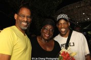 A guest, Ebony Jo-Ann and Adrian Bailey at The Wiz is 40 at Rumsey Playfield, Summerstage in New York on August 12, 2015. Photo by Lia Chang