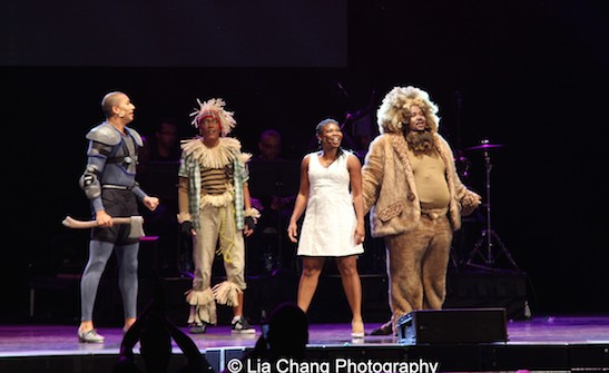 John Manzari as The Tinman, Garry Q Lewis as The Scarecrow, Darlesia Cearcy as Dorothy and Reji Woods as The Lion. Photo by Lia Chang