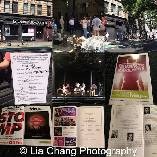 Preshow for the opening performance of Martin Casella's The Report at The Lynn Redgrave Theater at the Culture Project in New York on August 15, 2015. Photos by Lia Chang