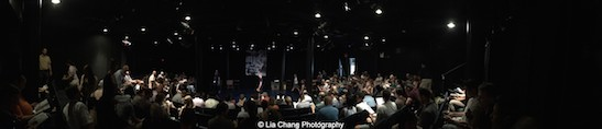 Soldout house for The Report at the Lynn Redgrave Theater at Culture Project in New York on August 15, 2015. Photo by Lia Chang