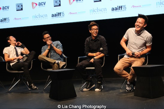 Actor Aaron Yoo, and Wong Fu Productions' Chris Dinh, Wesley Chan and Philip Wang at the AAIFF 2015 screening of their debut feature film EVERYTHING BEFORE US at the Museum of the Moving Image in Astoria on August 1, 2015. Photo by Lia Chang