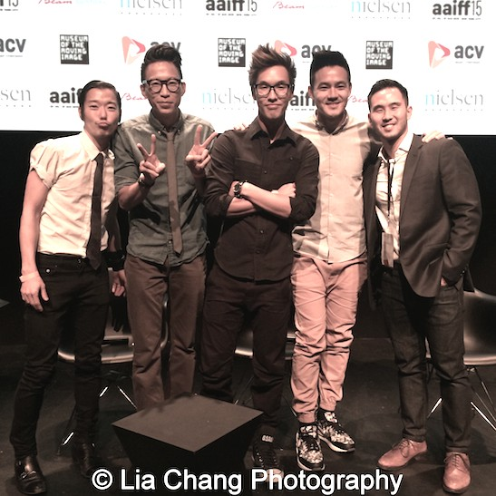 Actor Aaron Yoo, and Wong Fu Productions' Chris Dinh, Wesley Chan and Philip Wang, and AAIFF 2015 PR Manager Kevin Lee at the AAIFF 2015 screening of their debut feature film EVERYTHING BEFORE US at the Museum of the Moving Image in Astoria on August 1, 2015. Photo by Lia Chang