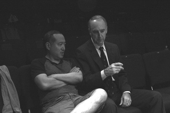 Alan Muraoka and Michael Countryman in rehearsal for THE REPORT. Photo by Lia Chang