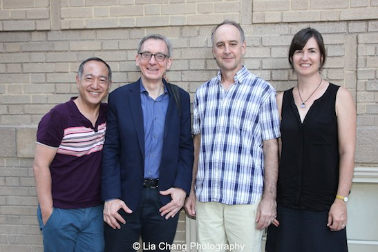 The Report's director Alan Muraoka, playwright Martin Casella, star Michael Countryman and author Jessica Francis Kane after a Q & A at the Sheen Center in New York on August 15, 2015. Photo by Lia Chang