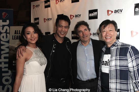 Byron Mann, Tzi Ma, Angela Zhou and John Wirth attend the AAIFF2015 screening of AMC's Hell on Wheels at Cinema Village East in New York on July 31, 2015. Photo by Lia Chang