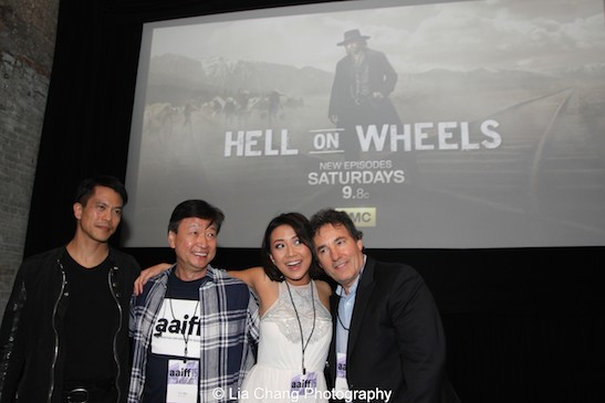 Byron Mann, Tzi Ma, Angela Zhou and John Wirth attend the AAIFF2015 screening of AMC's Hell on Wheels at Village East Cinema in New York on July 31, 2015. Photo by Lia Chang