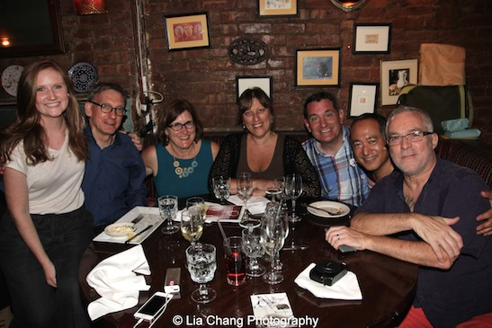Carolyn Quinn, Martin Casella, Lisa McGahey Veglahn, Sarahbeth Grossman, Jon Radulovic and Herb Perry at the opening night party of The Report at The Crooked Knife in New York on August 15, 2015. Photo by Lia Chang