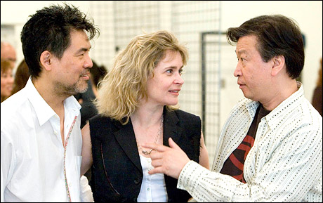 David Henry Hwang, Kathryn Layng and Tzi Ma at a rehearsal for Yellow Face at the Mark Taper Forum. (2007) Photo by Craig Schwartz