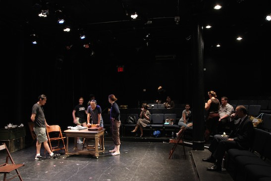 Darren Lee, Alan Muraoka in tech with the cast and crew for THE REPORT at The Lynn Redgrave Theater at the Culture Project. Photo by Lia Chang