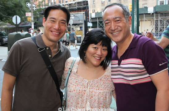 Darren Lee, Ann Harada and Alan Muraoka after the opening performance of The Report at The Lynn Redgrave Theater at Culture Project in New York on August 15, 2015. Photo by Lia Chang