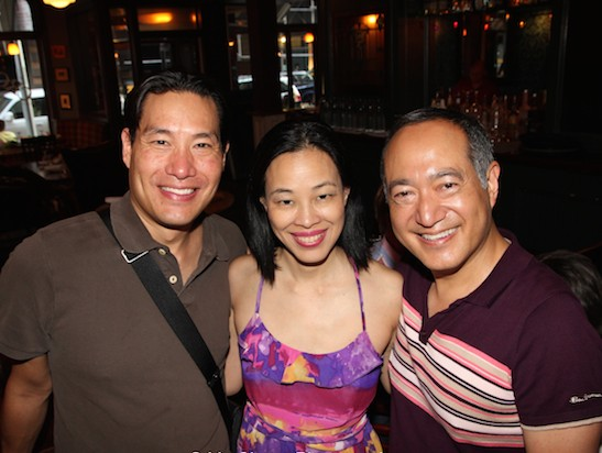 Darren Lee, Lia Chang and Alan Muraoka at the opening night party of The Report at The Crooked Knife in New York on August 15, 2015. Photo by Herb Perry
