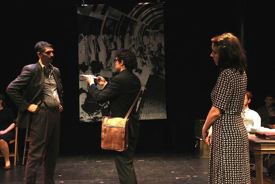 Denny Desmarais, Louis Lavoie and Natalie Frost in Martin Casella's The Report. Photo by Lia Chang