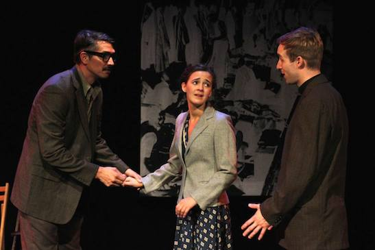 Denny Desmarais, Philippa Dawson and James Physick in The Report. Photo by Lia Chang