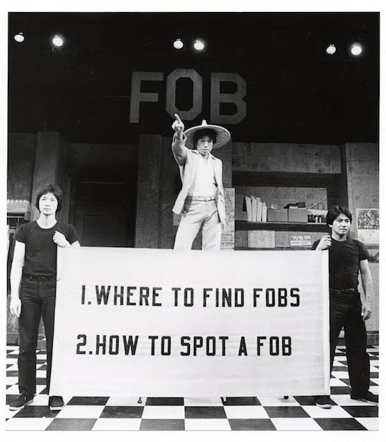 """Tzi Ma was a """"Kurogo"""" with Calvin Jung & Willy Corpus in David Henry Hwang's FOB at The Public Theater (1980's) Photo by Martha Swope"""