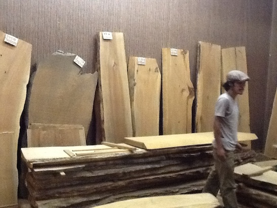 Flatfile owner Koji Moriya searching for wood in Nagano, 2013. Photo by Arlan Huang