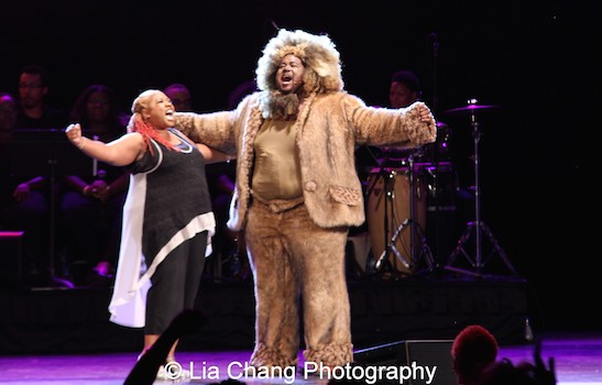 Inaya Day as Dorothy and Reji Woods as The Lion in The Wiz is 40 at Rumsey Playfield, Summerstage in New York on August 12, 2015. Photo by Lia Chang