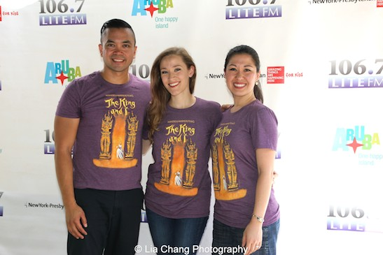 The King and I's Jose Llana, Betsy Morgan and Ruthie Ann Miles attend 106.7 LITE FM's Broadway in Bryant Park in New York on August 13, 2015. Photo by Lia Chang