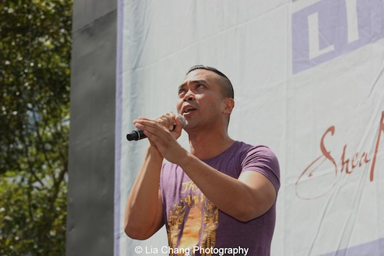 Jose Llana from the cast of The King and I performs at 106.7 LITE FM's Broadway In Bryant Park on August 13, 2015 in New York City. Photo by Lia Chang