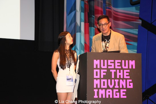 AAIFF 2015 Festival Director Judy Lei and ACV Executive Director John Woo announced the 2015 AAIFF Award winners at the closing night awards ceremony of the 38th Asian American International Film Festival at the Museum of the Moving Image in Astoria on August 1, 2015. Photo by Lia Chang