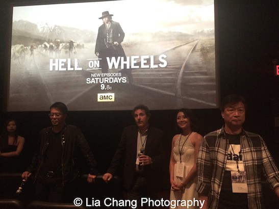 AAIFF2015 Festival Director Judy Lei, Byron Mann, Executive Producer and Showrunner John Wirth, Angela Zhou and Tzi Ma during the Q&A at the AAIFF2015 screening of AMC's Hell on Wheels at Village East Cinema in New York on July 31, 2015. Photo by Lia Chang