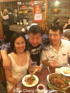 At dinner with Lia Chang, Tzi Ma and Kevin Bang.