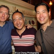 Playwright Martin Casella, director Alan Muraoka and choreographer Darren Lee at the opening night party of The Report at The Crooked Knife in New York on August 15, 2015. Photo by Lia Chang