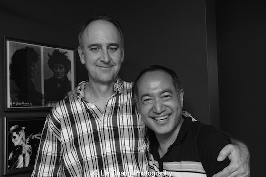 Michael Countryman and director Alan Muraoka at the opening night party of The Report at The Crooked Knife in New York on August 15, 2015. Photo by Lia Chang