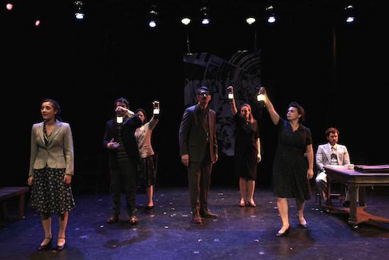 Philippa Dawson, Louis Lavoie, Sophie Sorensen, Denny Desmarais, Jenny Green, Zoe Watkins, Stuart Williams in The Report. Photo by Lia Chang