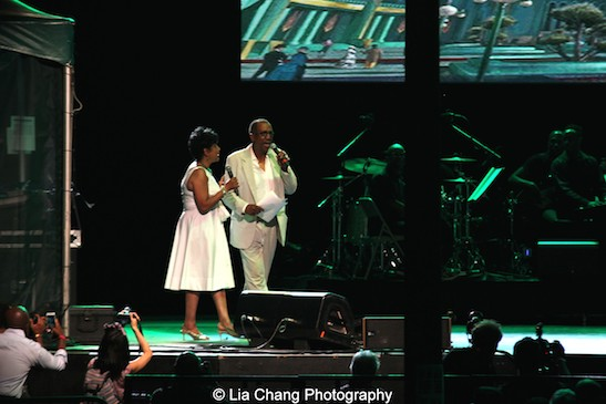 Phylicia Rashad and George Faison co-emceed The Wiz is 40 at Rumsey Playfield, Summerstage in New York on August 12, 2015. Photo by Lia Chang