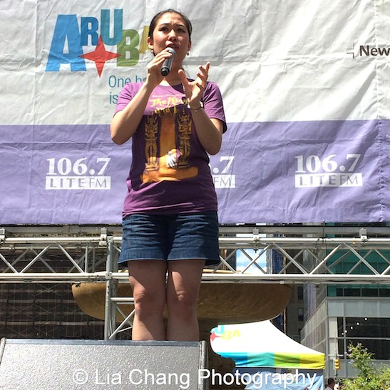 Tony winner Ruthie Ann Miles from the cast of The King and I performs at 106.7 LITE FM's Broadway In Bryant Park on August 13, 2015 in New York City. Photo by Lia Chang