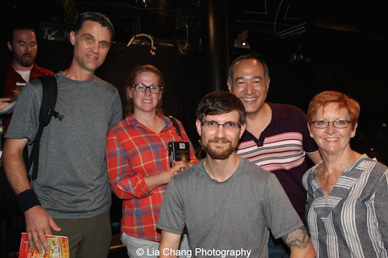 "Alan Muraoka and his colleagues from ""Sesame Street"" after the opening performance of The Report at The Lynn Redgrave Theater at Culture Project in New York on August 15, 2015. Photo by Lia Chang"