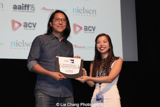 Director Steve Maing received the 2015 AAIFF Excellence in Short filmmaking Award for THE SURRENDER from AAIFF 2015 Festival Director Judy Lei at the Museum of the Moving Image in Astoria on August 1, 2015. Photo by Lia Chang