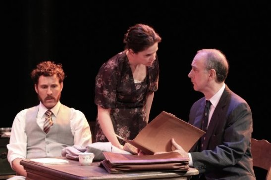 Stuart Williams, Sophie Sorensen and Michael Countryman in THE REPORT. Photo by Lia Chang
