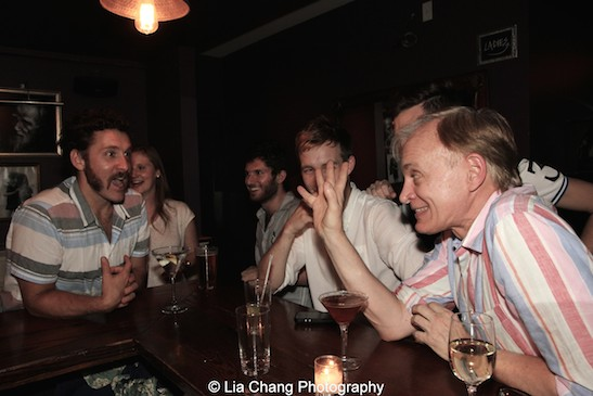 he Report cast and producer Craig Zehms (far right) at the opening night party at The Crooked Knife in New York on August 15, 2015. Photo by Lia Chang