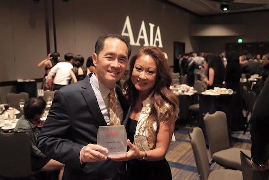 Ti-Hua Chang and his wife Elaine Huie Chang after accepting the 2015 Lifetime Achievement Award at the Annual Awards Gala at the National Convention at the Hyatt Regency Embarcadero in San Francisco on August 15, 2015. (Photo courtesy of Elaine Huie Chang/Facebook