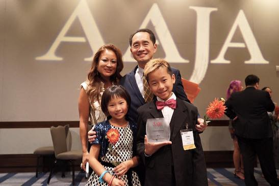 Ti-Hua Chang with his wife Elaine Huie Chang and their two children, Evangelina, age 9 and Tyler, age 11 after accepting the 2015 Lifetime Achievement Award at the Annual Awards Gala at the National Convention at the Hyatt Regency Embarcadero in San Francisco on August 15, 2015. (Photo courtesy of Elaine Huie Chang/Facebook